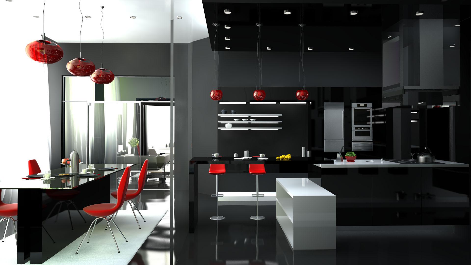 Темная кухня в стиле хай-тек с красными и белыми акцентами
