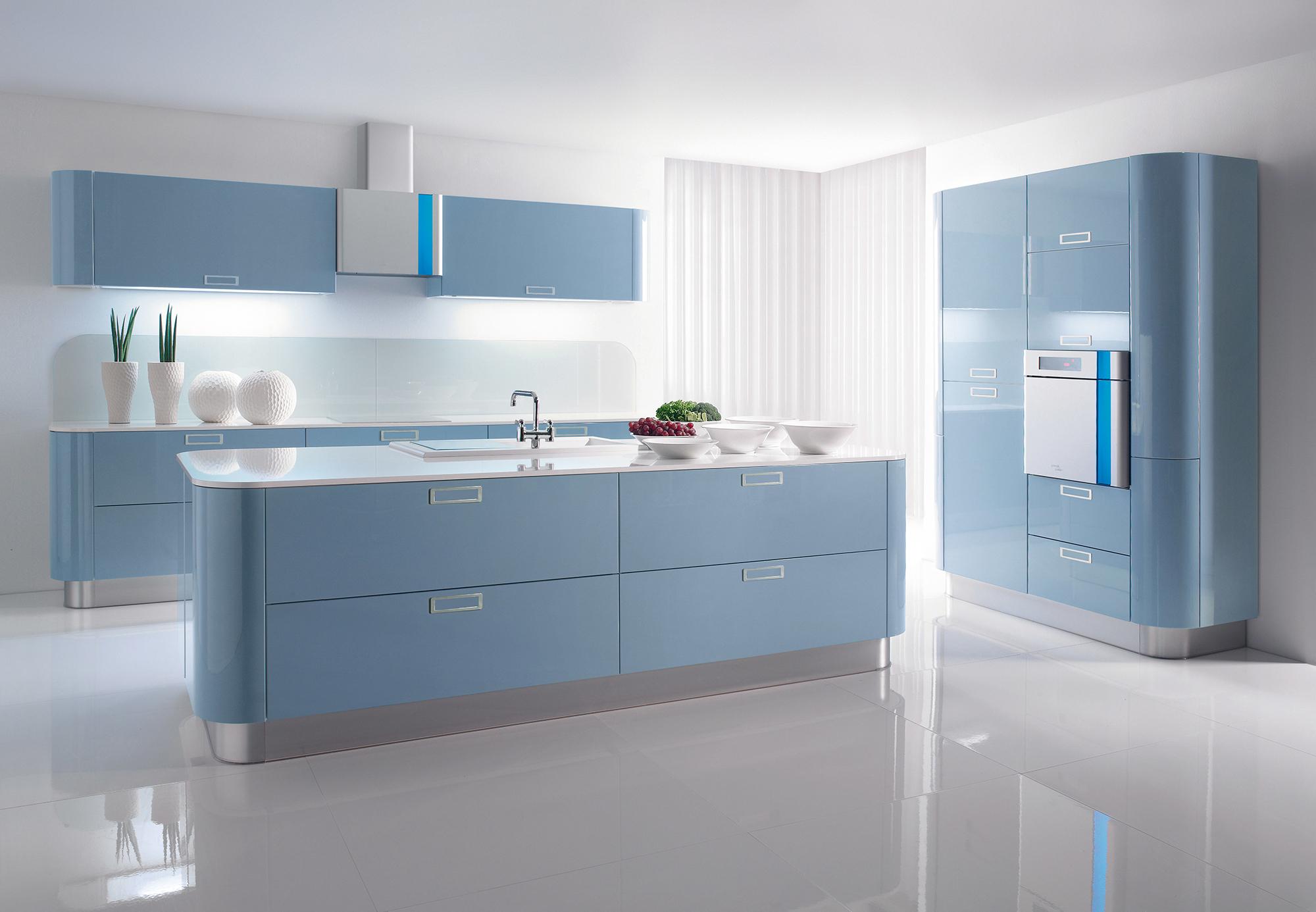 Голубая кухня в стиле хай-тек
