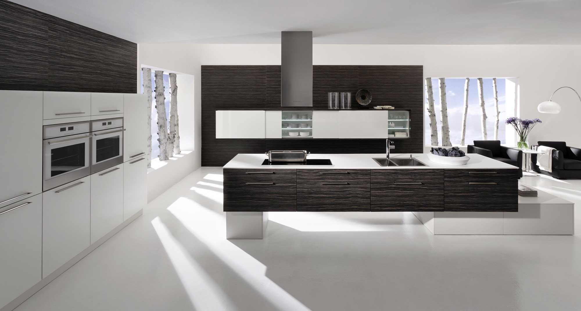 Большая черно-белая кухня в стиле хай-тек
