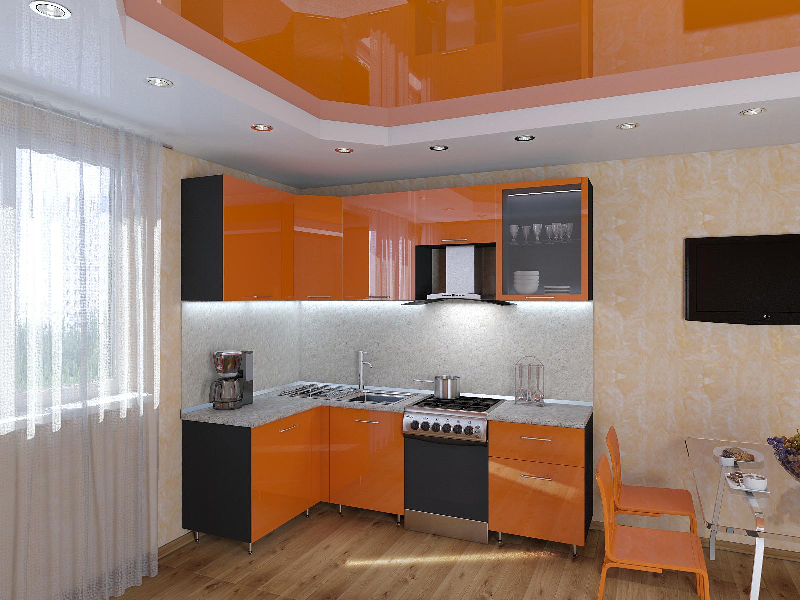 Небольшая черно-оранжевая кухня в стиле хай-тек