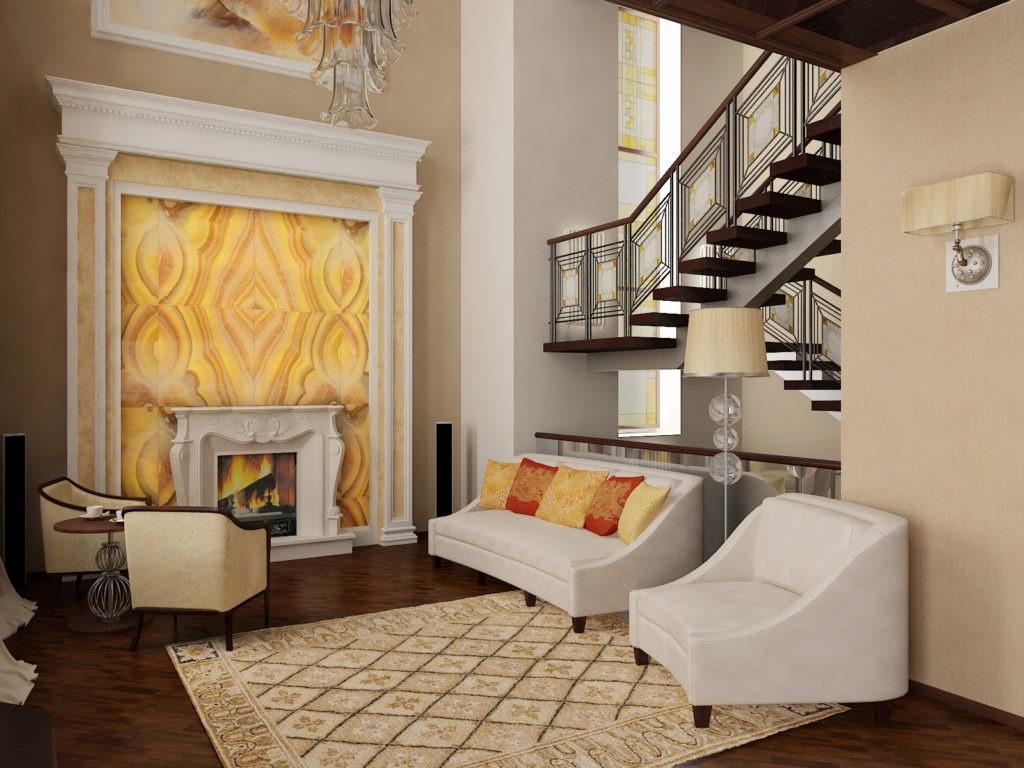 Маршевая лестница в интерьере гостиной