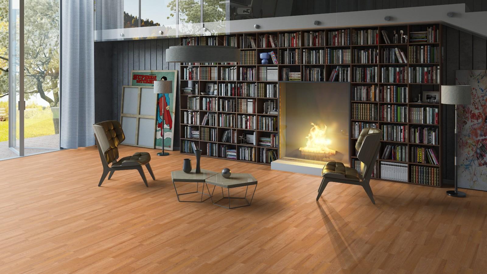 Линолеум в гостиной с камином