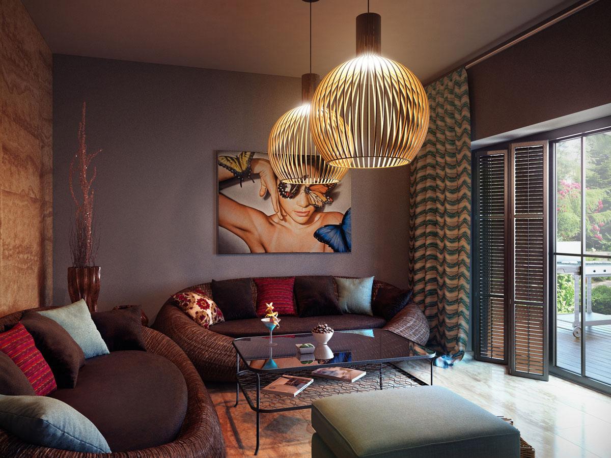 Сочетание мебели коричневого цвета в интерьере