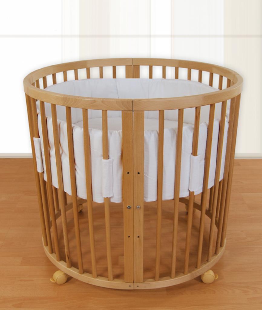 Детская круглая кроватка-трансформер из дерева