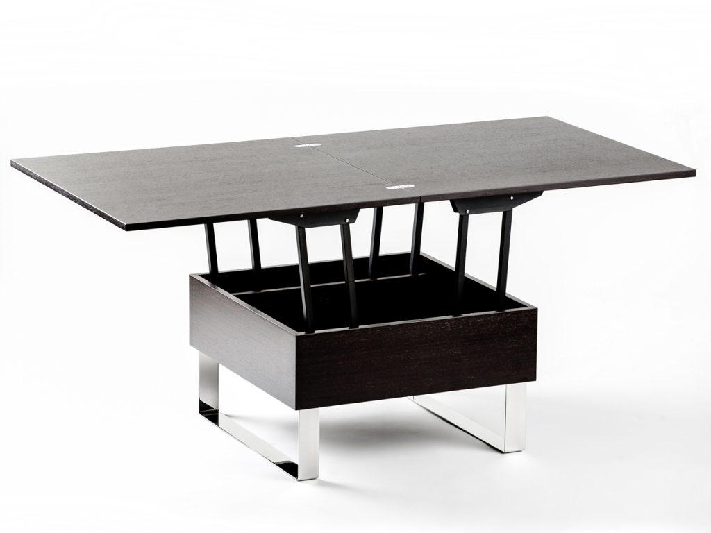 Стол-трансформер из кофейного в обеденный из дерева и металла