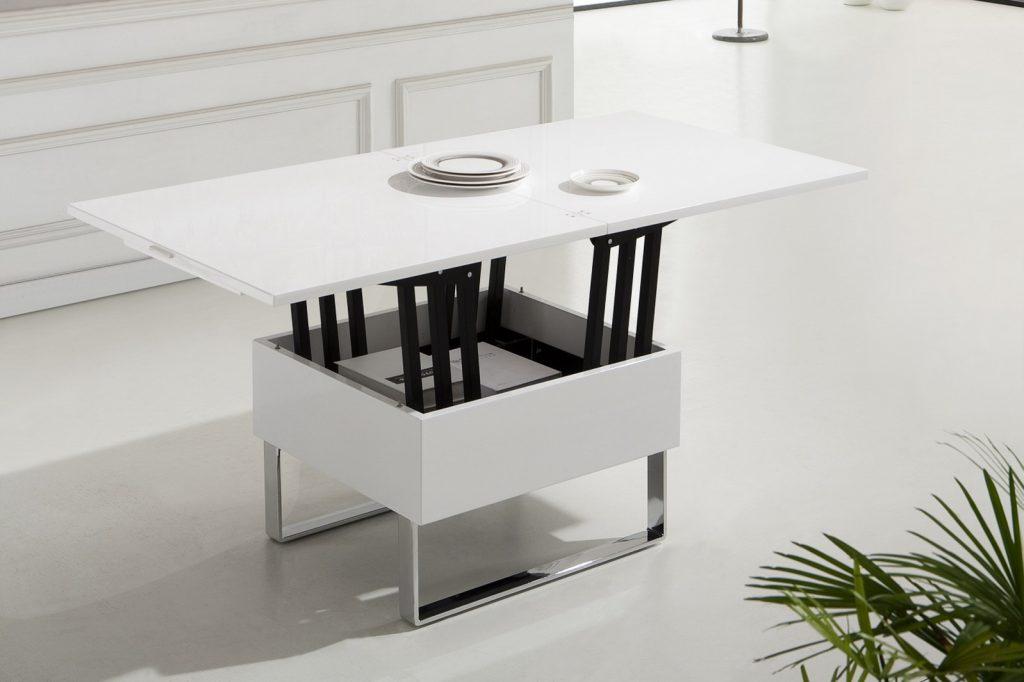 Белый стол-трансформер для гостиной или кухни из дерева и металла