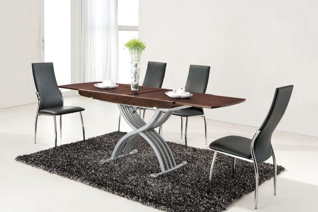 Коричневый стол-трансформер для столовой