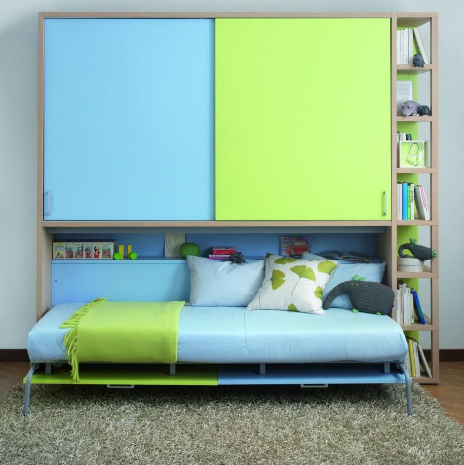 Детская зелено-голубая кровать-трансформер