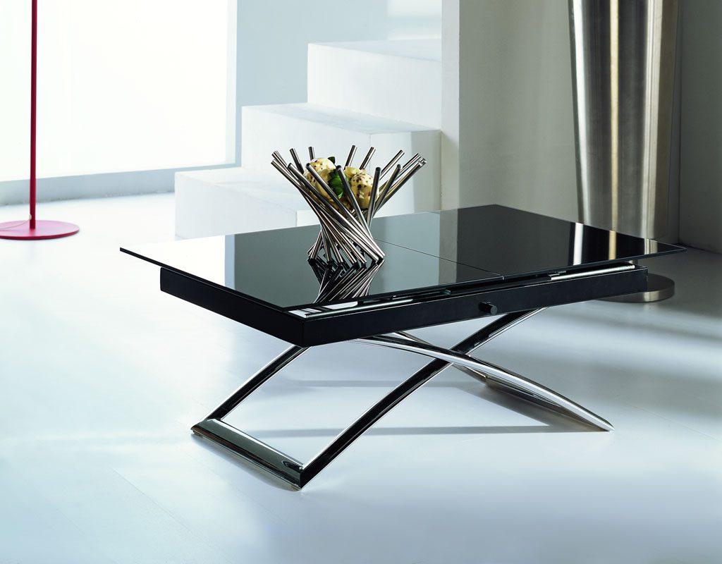 Глянцевый черный стол-трансформер