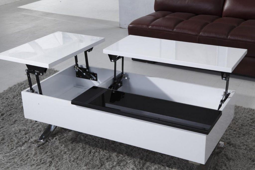 Белый глянцевый стол-трансформер с нишами