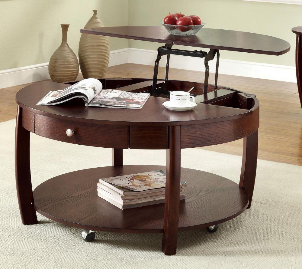 Круглый деревянный стол-трансформер с подъемными полками