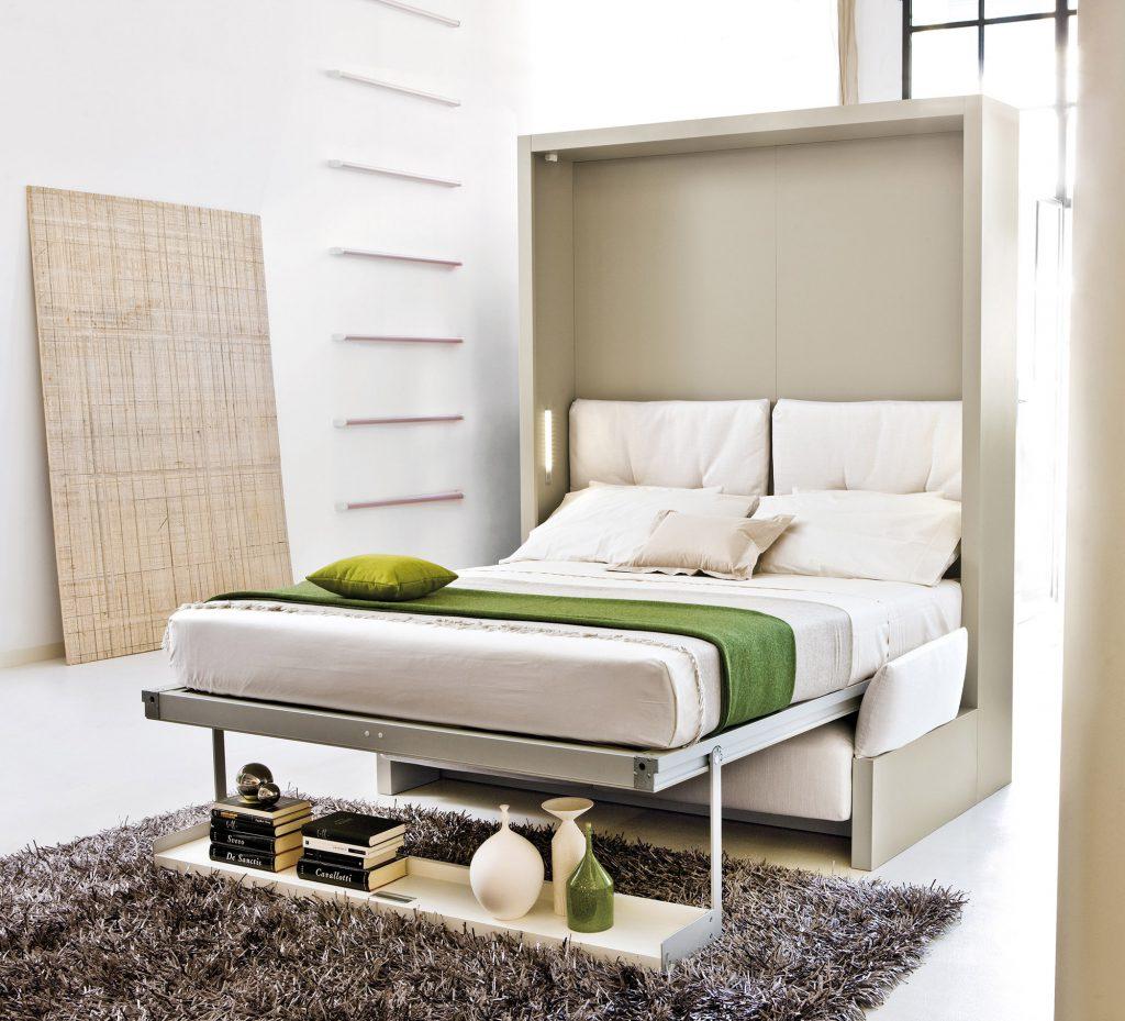 Серый шкаф-трансформер становится кроватью