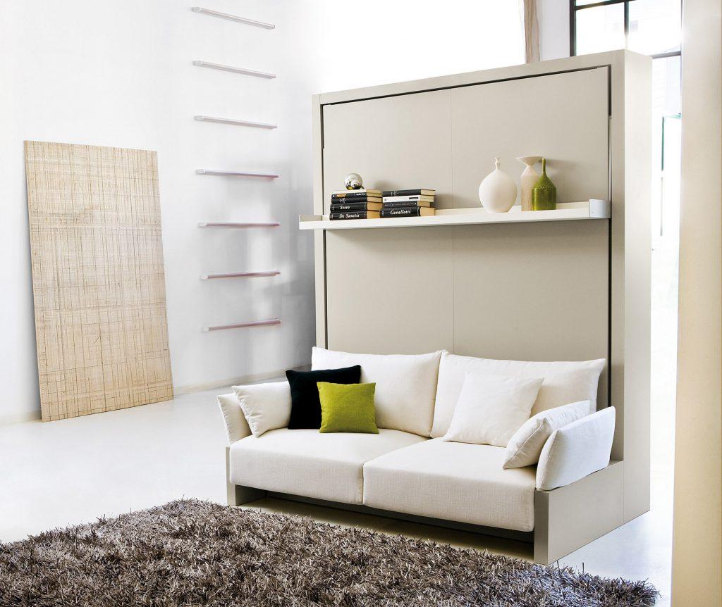 Серый шкаф-трансформер в гостиной