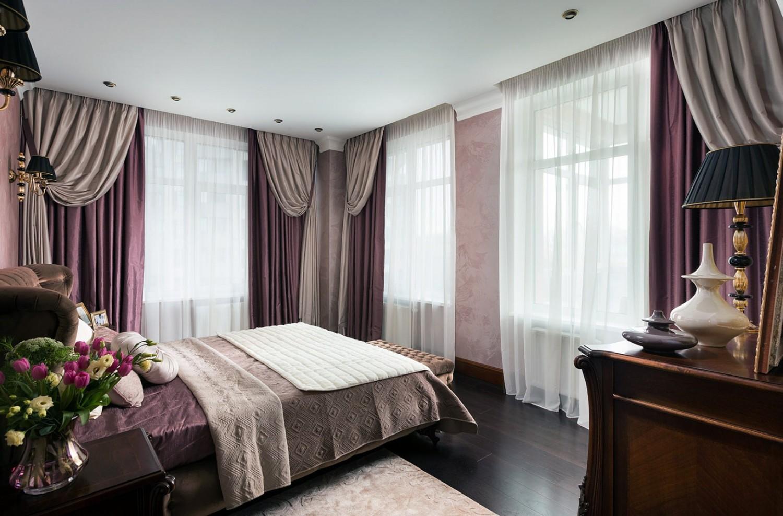 Многослойные шторы в интерьере спальни