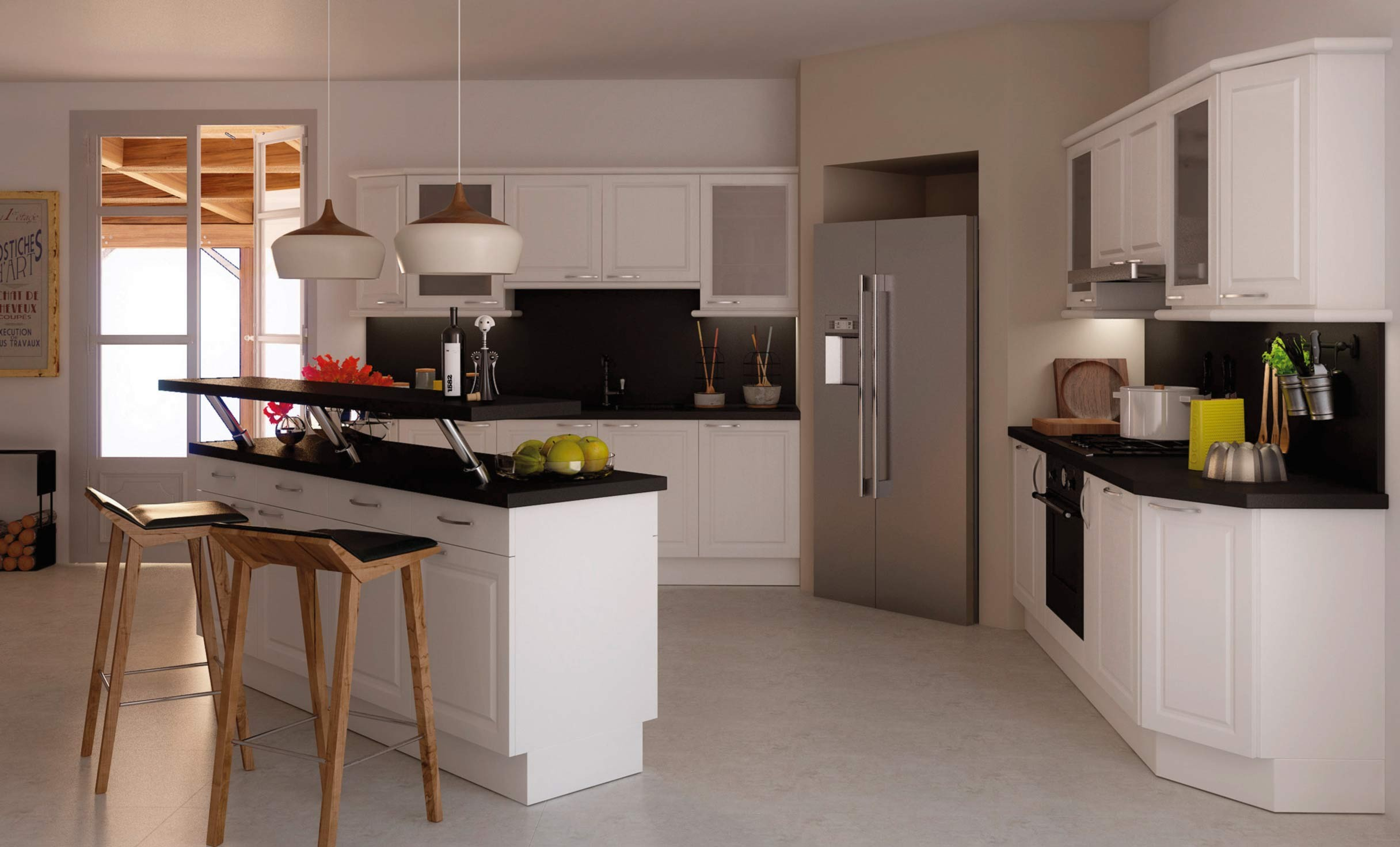 Дизайн кухни с барной стойкой монохромной