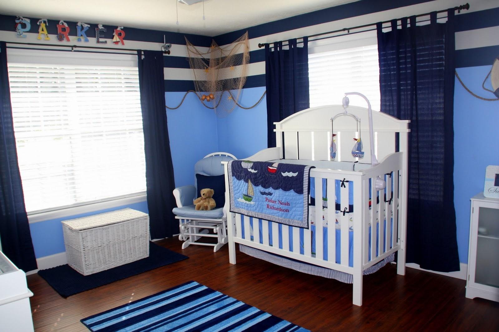 Дизайн штор для детской комнаты в морском стиле
