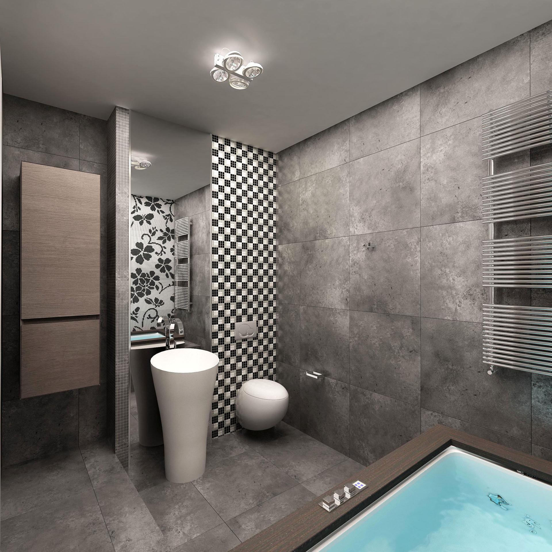 Черно-белая мозаика в ванной комнате