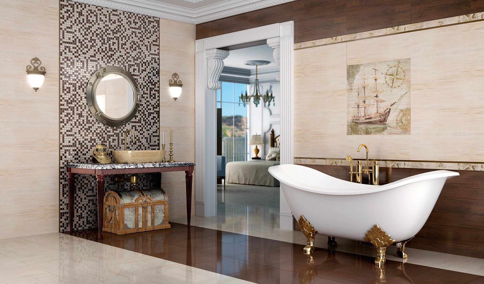 Мозаика для оформления стены за зеркалом в ванной