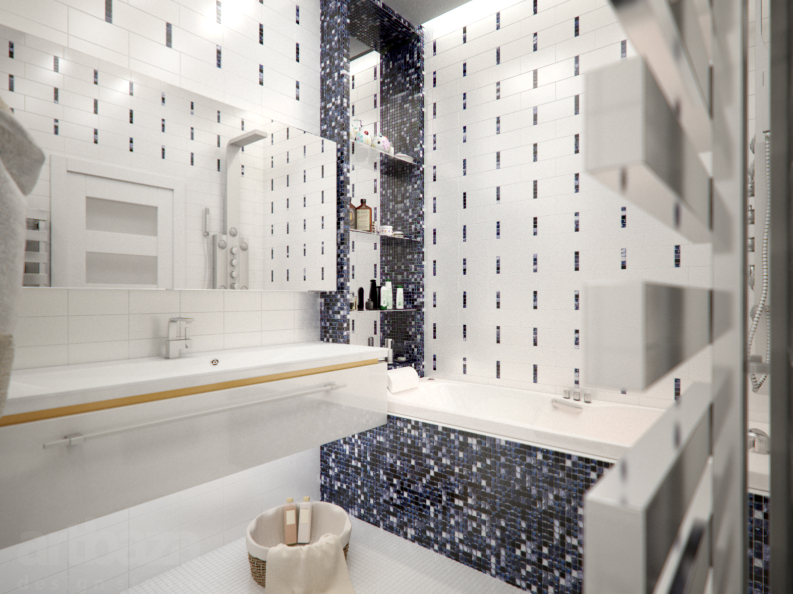 Сине-белая мозаика в светлой ванной