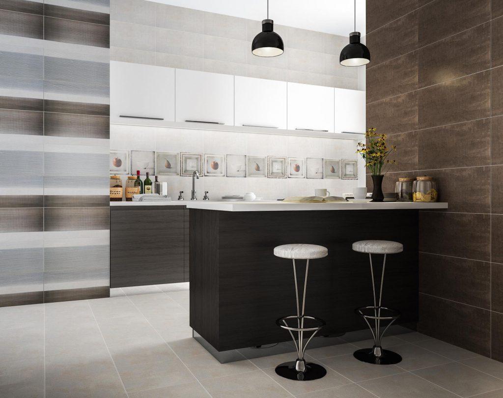 Серая плитка на пол в минималистичной кухне