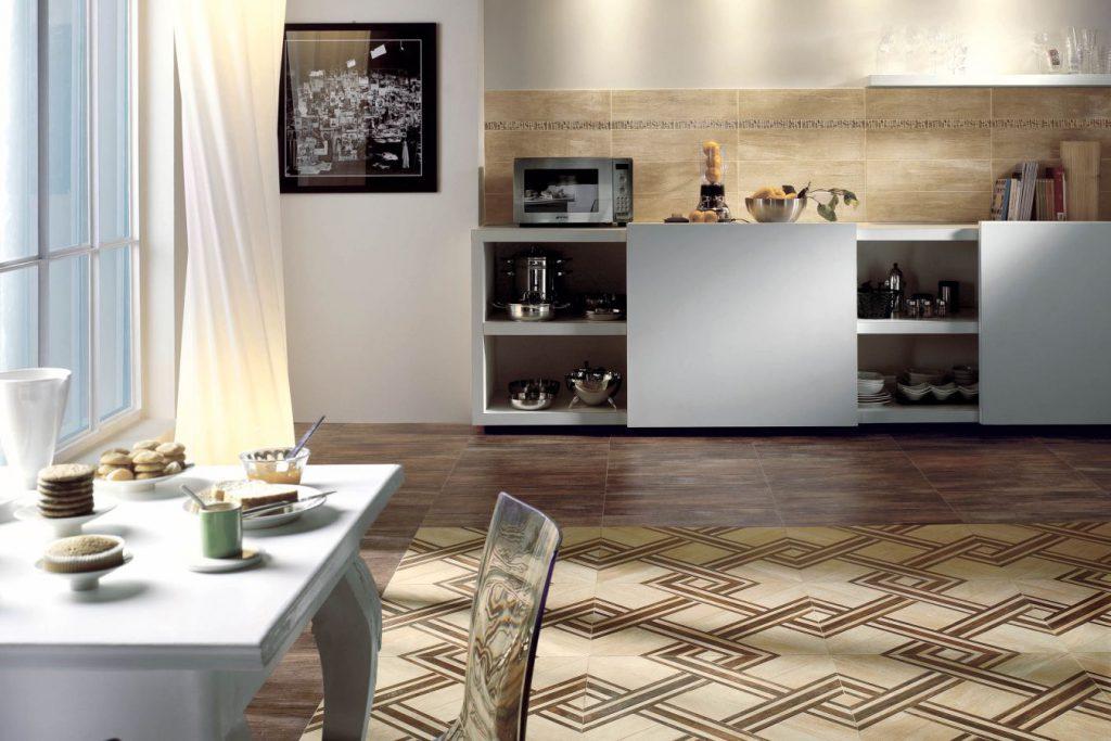 Комбинирование напольной плитки на кухне