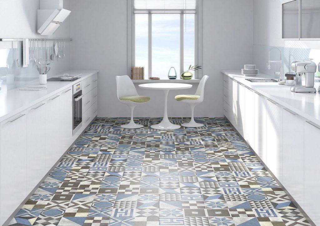 Напольная плитка для кухни с геометрическим рисунком