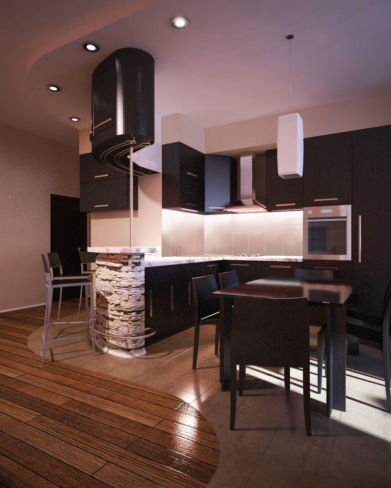 Комбинирование плиток на кухне-столовой
