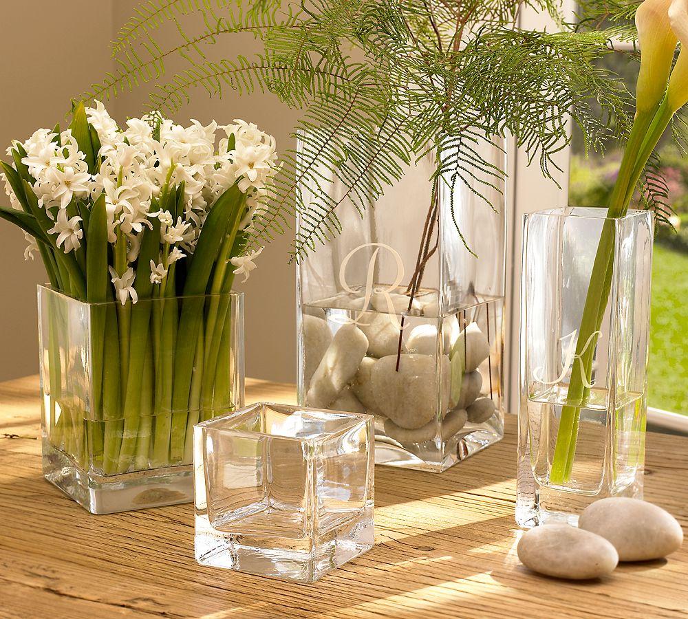 Прямоугольные стеклянные напольные вазы