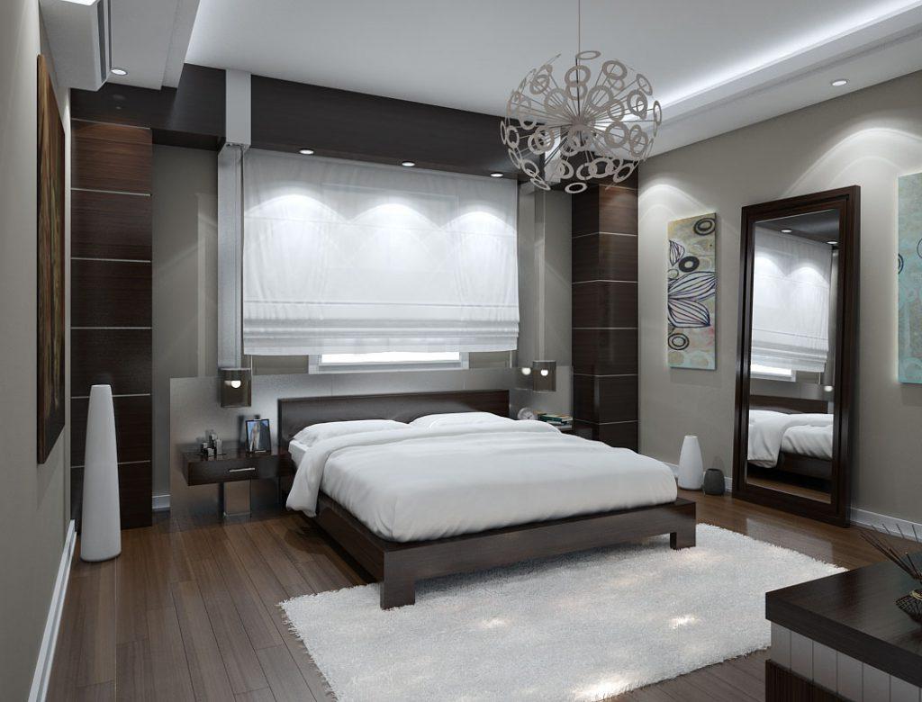 Белые напольные вазы в спальне