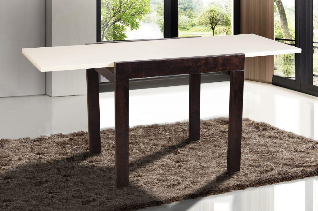 Контрастный черно-белый деревянный обеденный стол