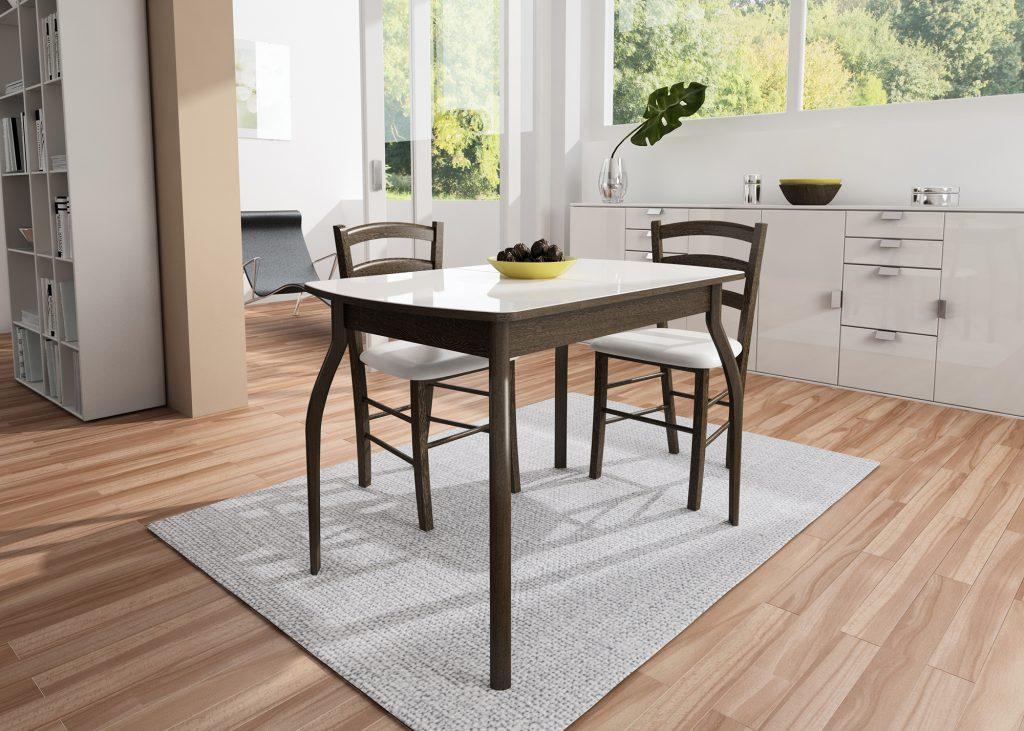 Темный деревянный кухонный стол с белой столешницей