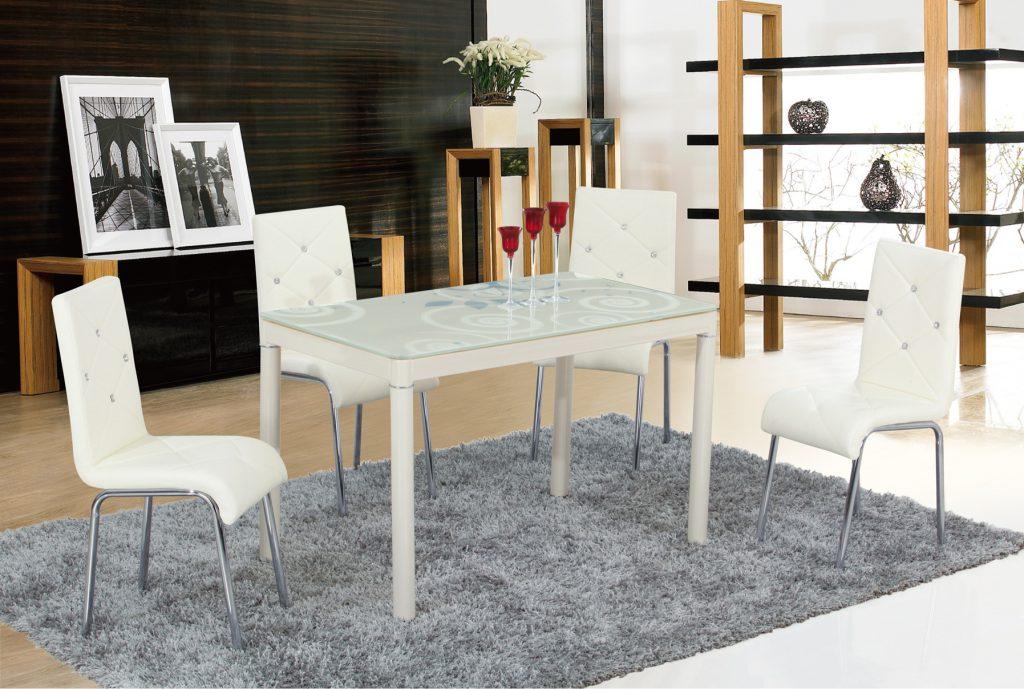 Прямоугольный белый стол со стеклянной столешницей для маленькой кухни