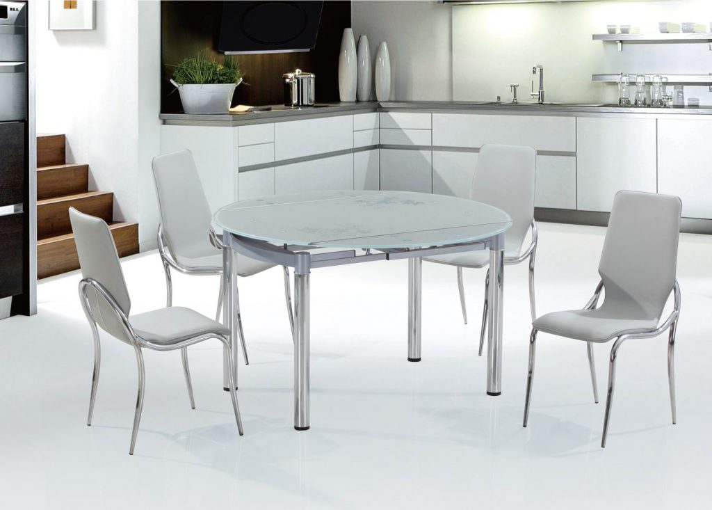 Серый кухонный стол со стеклянной столешницей
