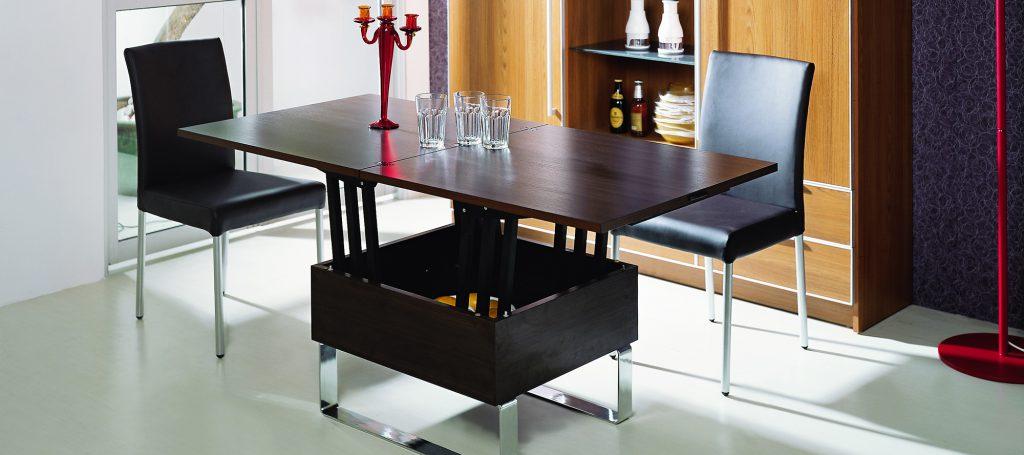Раскладной темный стол для кухни