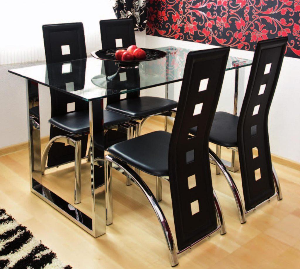 Красивый кухонный стол из металла и стекла
