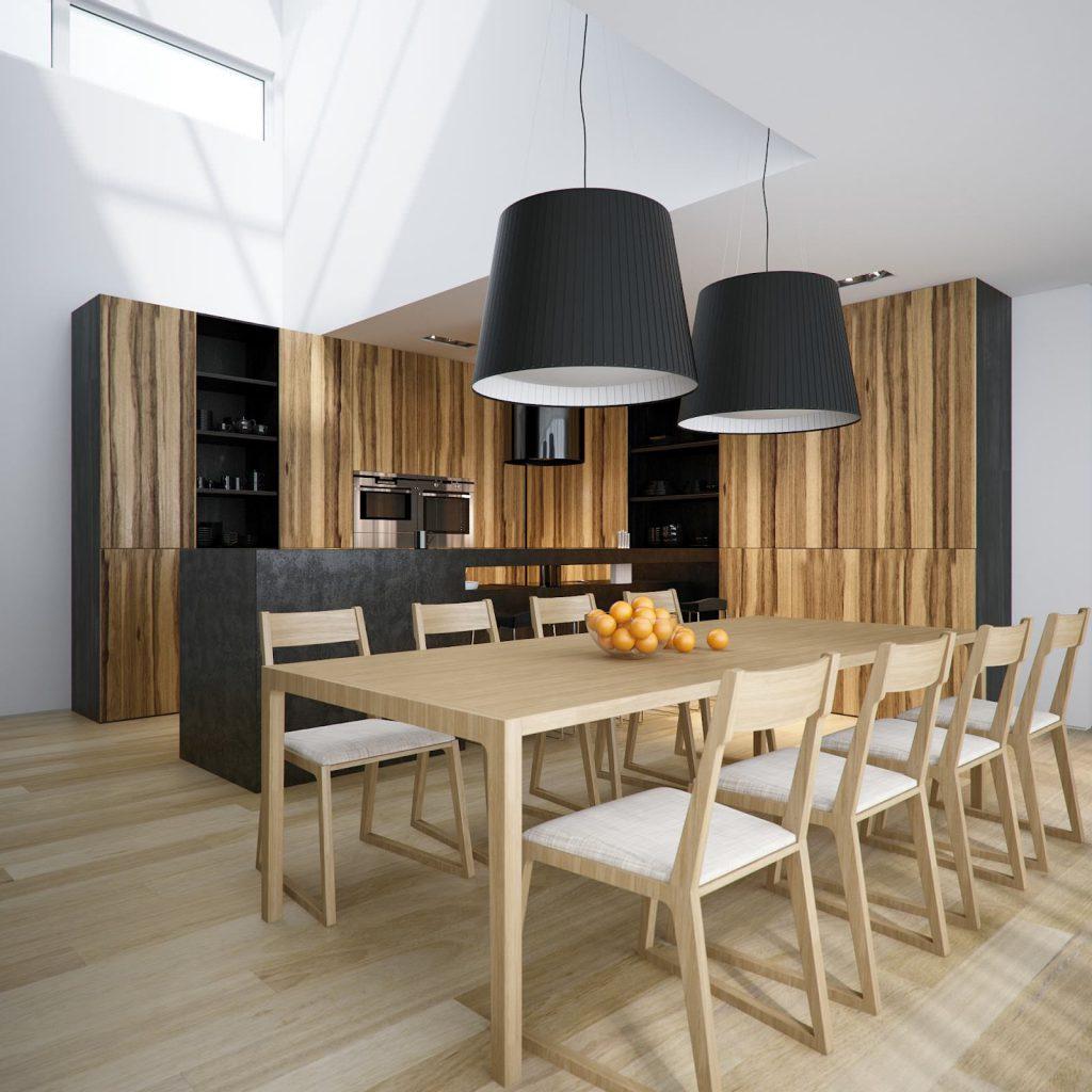 Светло-коричневый деревянный стол для кухни