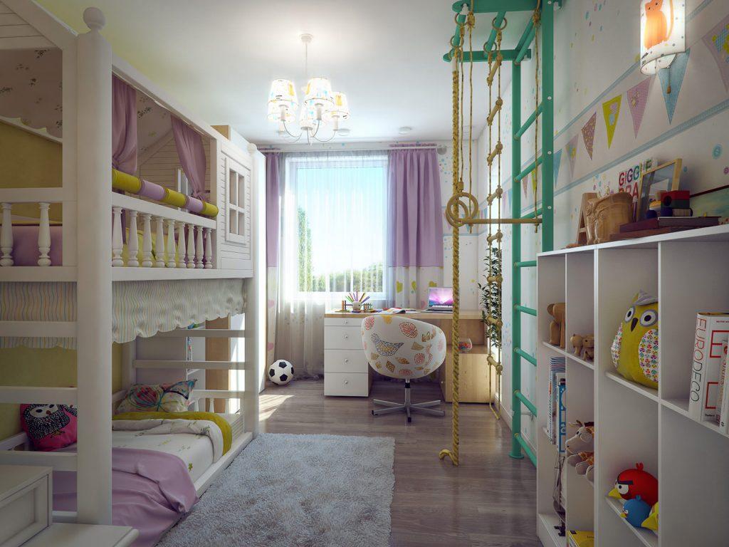 Разноцветные обои в детской комнате