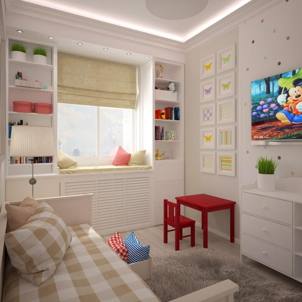 Белые обои в небольшой детской комнате