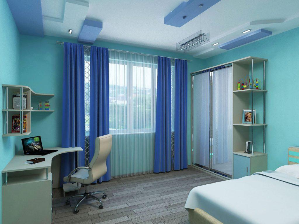 Голубые обои в комнате для мальчика подростка