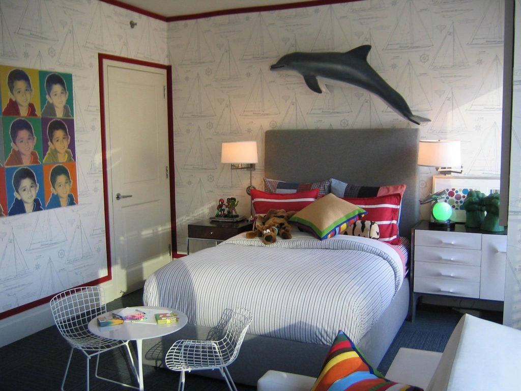 Спокойные обои с корабликами для детской комнаты
