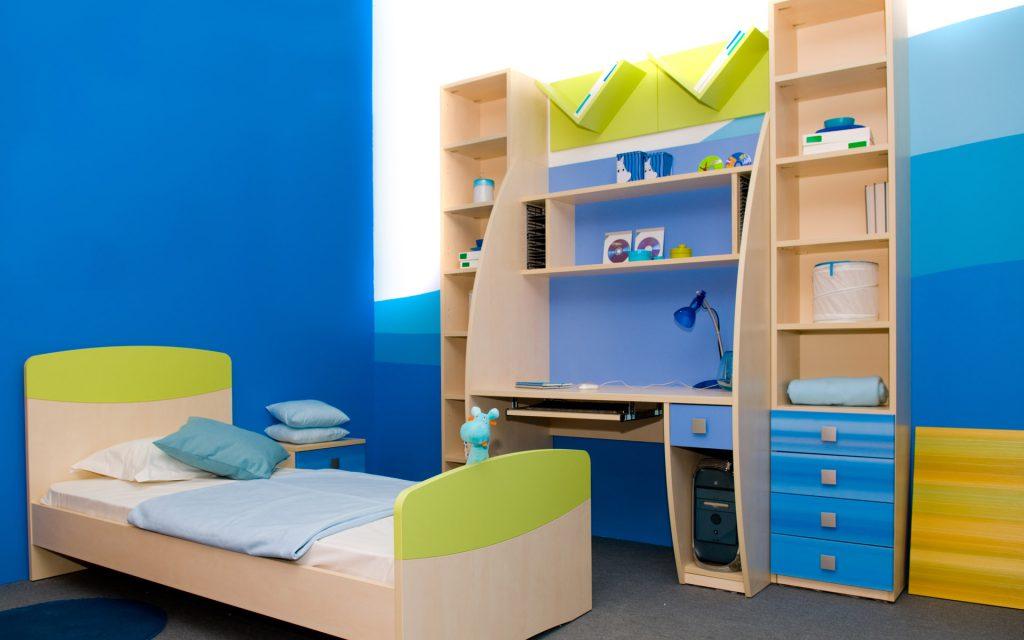 Синие обои для комнаты мальчика