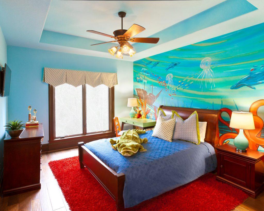 Обои с морским рисунком в детской комнате
