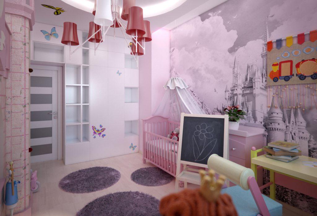 Фотообои с замком в комнате маленькой девочки
