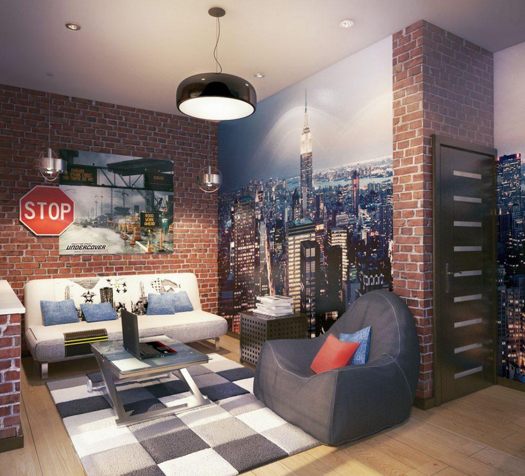 Фотообои и кирпичные стены в комнате подростка