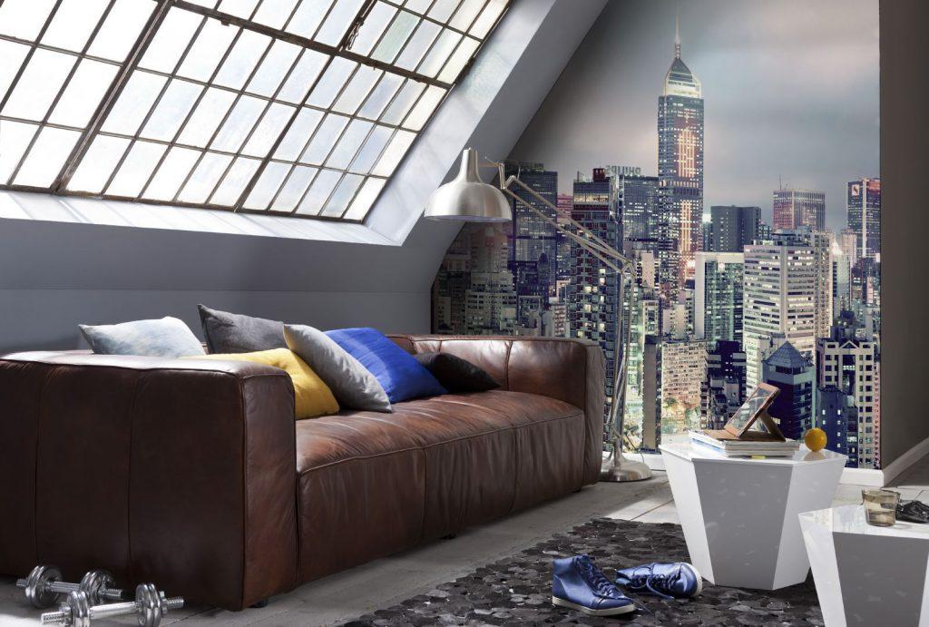 Фотообои с изображением города в комнате для подростка