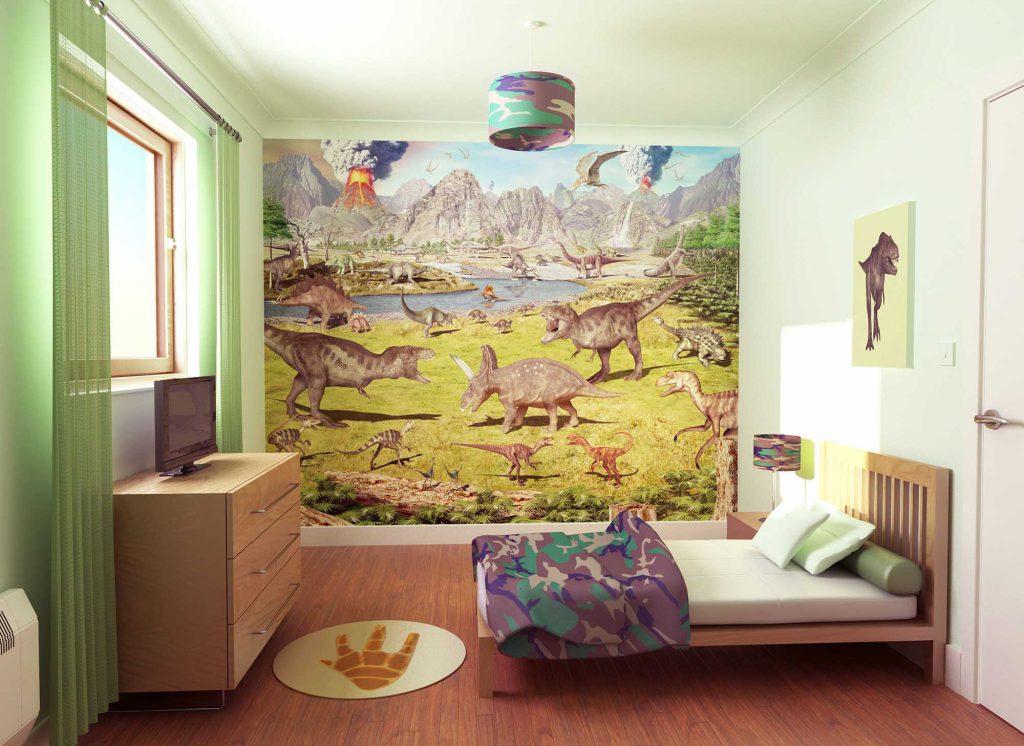 Фотообои с динозаврами для детской комнаты
