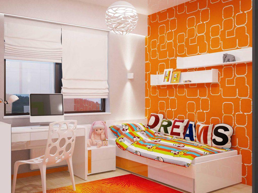 Белые и оранжевые обои для детской комнаты