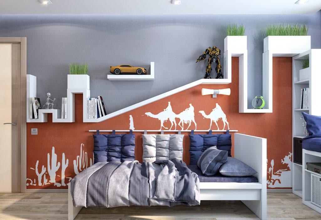 Серые и коричневые обои в комнате для подростка