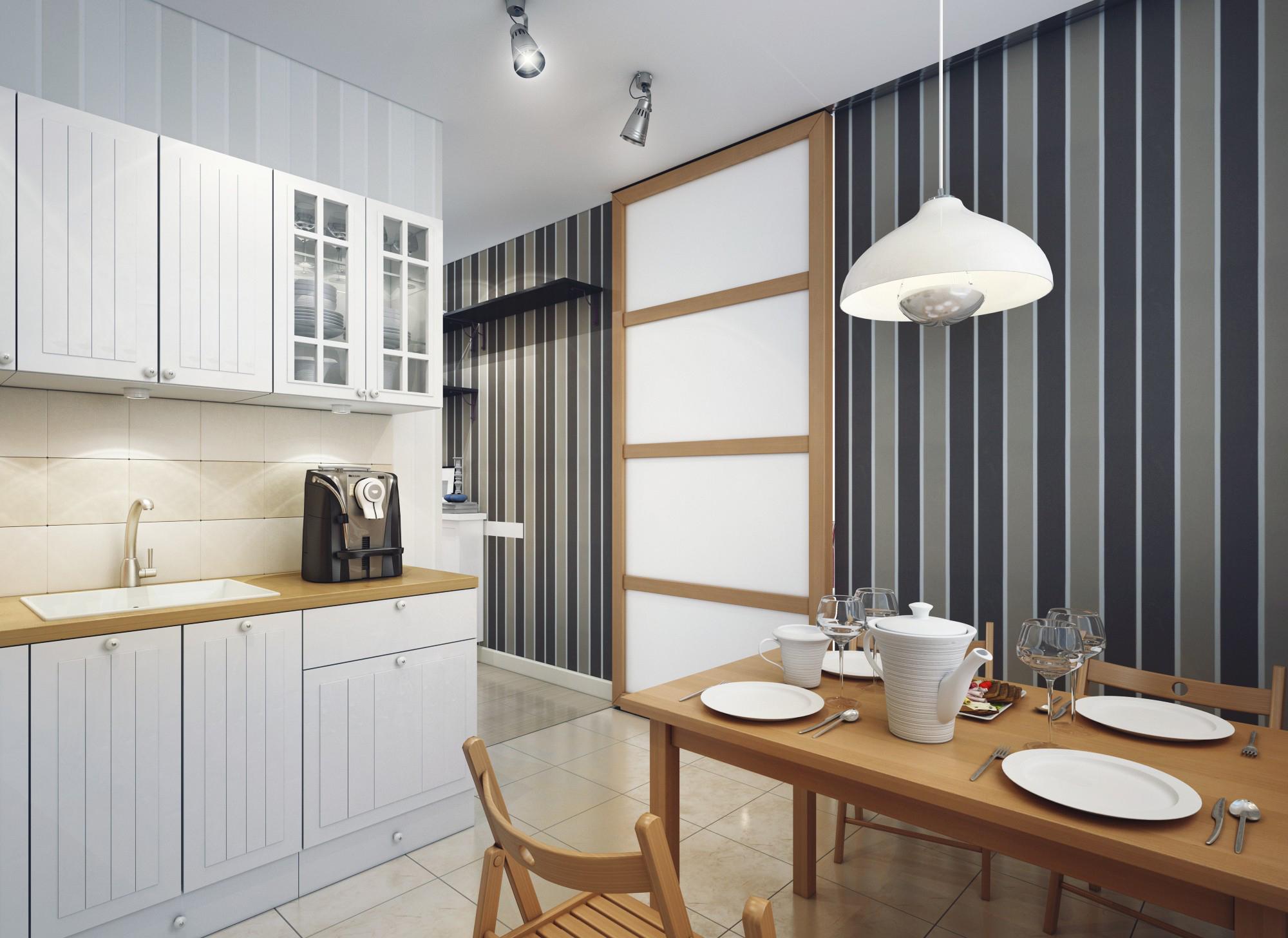 Серо-черные полосатые обои на кухне