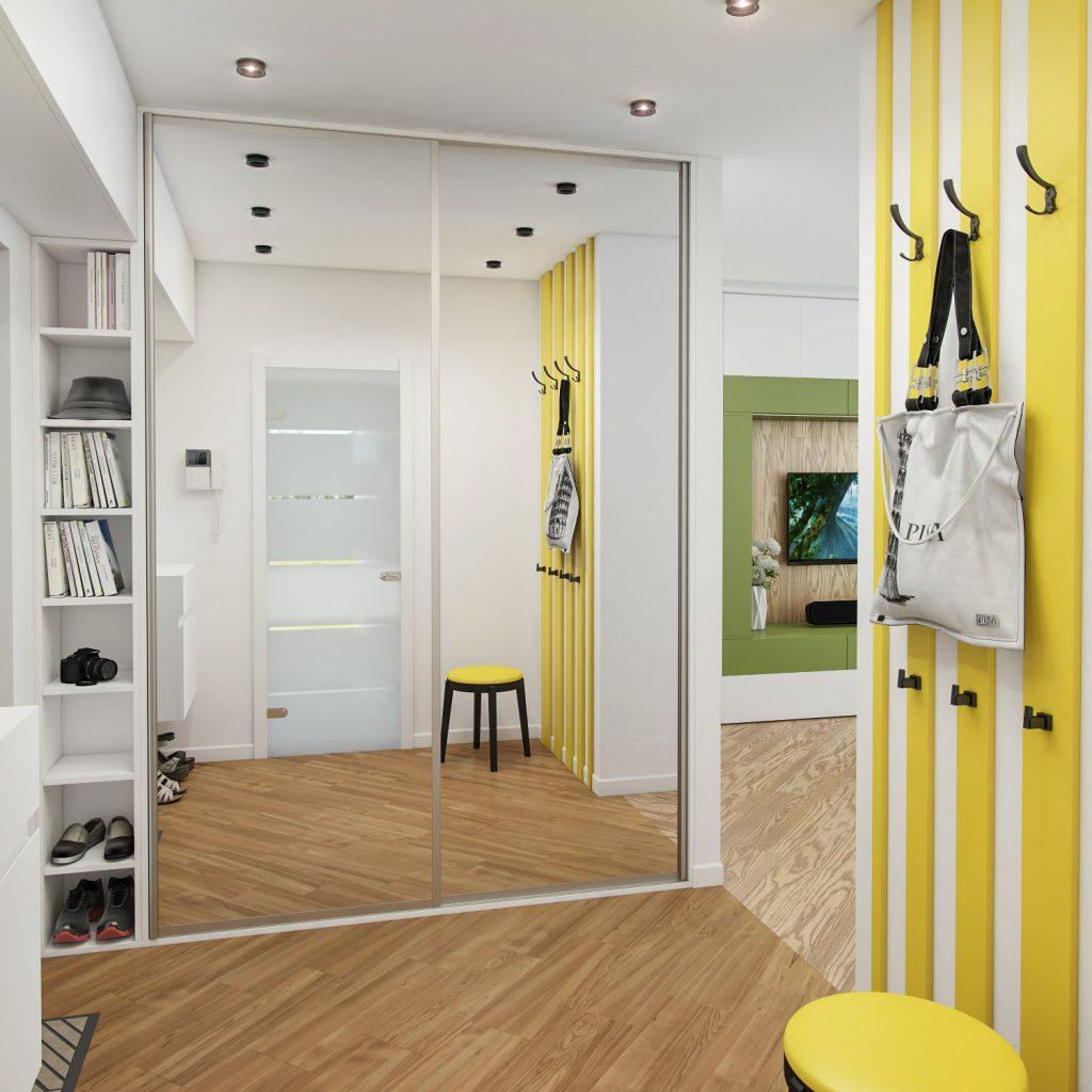 Желтые доски и белые стены в коридоре